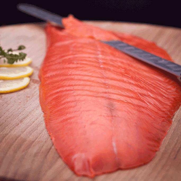Filetto di salmone selvaggio affumicato tlingit sockey
